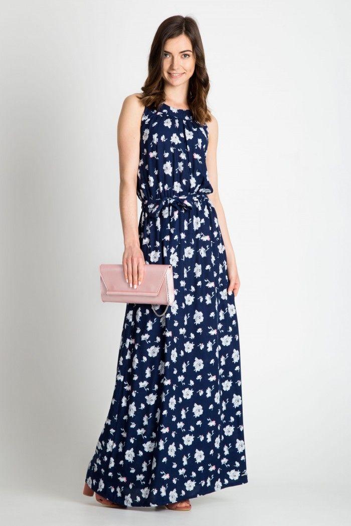 8ee8ed97c5 Z2019 Granatowa sukienka maxi w kwiaty - Sukienki - Quiosque.pl ...