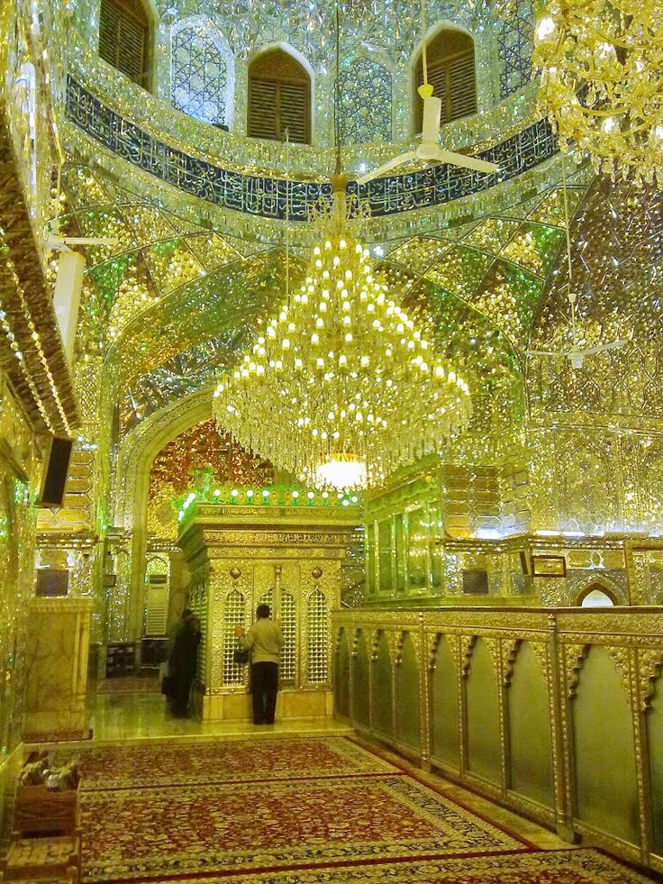 Inside the Aramgah-e Shah-e Cheragh (Mausoleum of the King of the