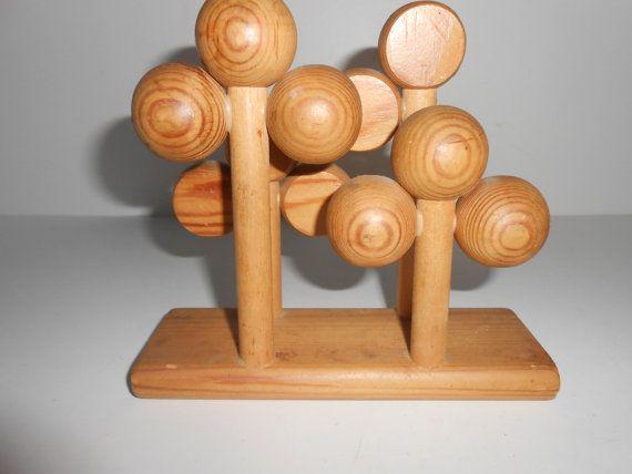 Vintage Mid Century Aarikka Finland Wooden Wood Atomic Napkin