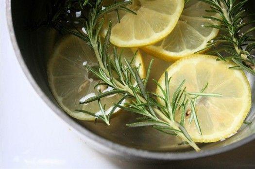 home air freshener (2/3 pot water, 1 lemon sliced, sprigs fresh rosemary and 1-2 T. vanilla)  Simmer on low all day long