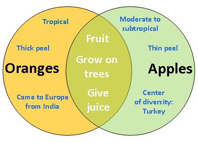 comparison and contrast essay examples | Fig. 1. Venn Diagram: Compare Apples and Oranges (Compare and Contrast ...