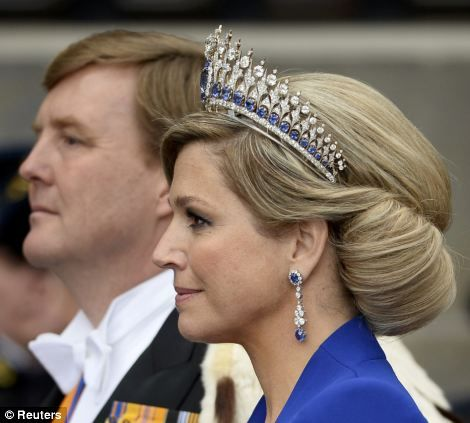 Dutch King Willem-Alexander and his wife Queen Maxima (side view of the Mellerio Sapphire Tiara) (4/30/13)