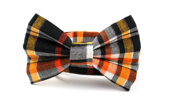 Harvest plaid dog collar and bow tie for thanksgiving