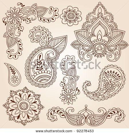 Henna Mehndi Doodles Abstract Floral Paisley Design Elements, Mandala, and Page Corner Design