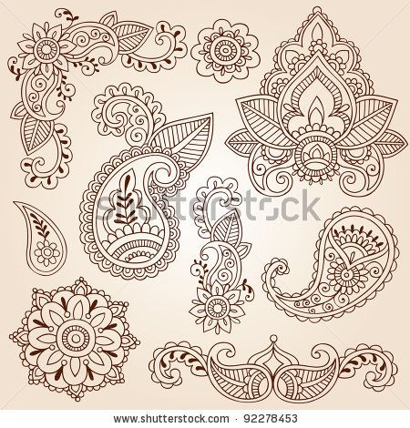 Henna Mehndi Doodles Abstract Floral Paisley Design Elements, Mandala, and Page Corner Design Vector Illustration by blue67design, via Shutt...