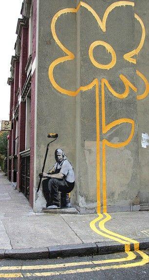 Banksy. London: Yellow Flowers, Street Artists, Flowers Girls, Amazing Street Art, Flowers Power, Art Flowers, Street Art Love, Streetart, Graffiti Artists