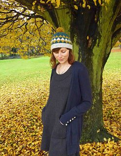 Triangle hat is a simple fair-isle bobble hat knitted in straight needles and seamed at the back.