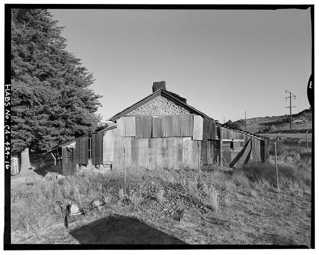 West elevation.  Camera facing east. - Warner Ranch, Ranch House, San Felipe Road (State Highway S2), Warner Springs, San Diego County, CA