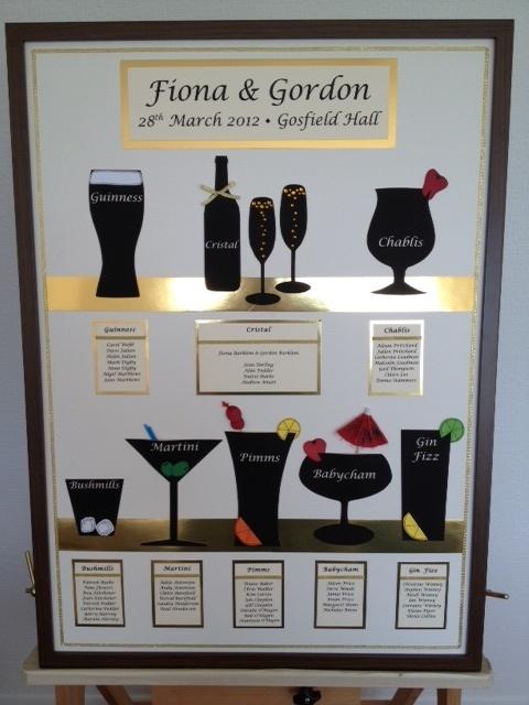 Framed Cocktail themed table planner  www.sallyrosestudio.com  £75.00