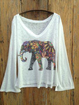Loja Hippie Artesanatos | Camiseta Manga Flare Elefante Indiano