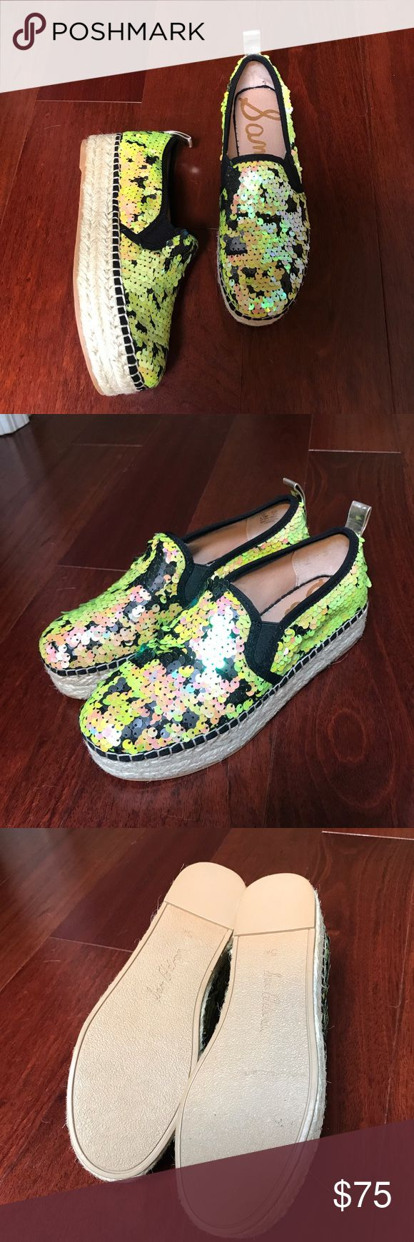 Sam Edelman Sequin Espadrilles Amazing shoes! Green, black, and iridescent color! These are definitely unique! Like new condition! Sam Edelman Shoes Espadrilles