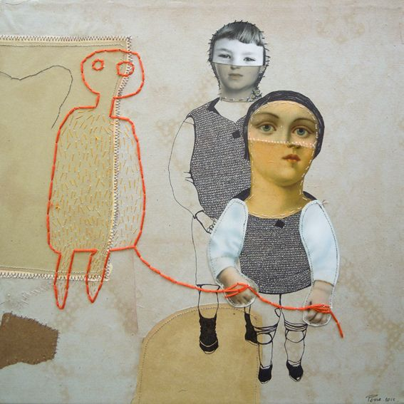 Cécile Perra - Le ballon #mixedmedia #collage #figurative