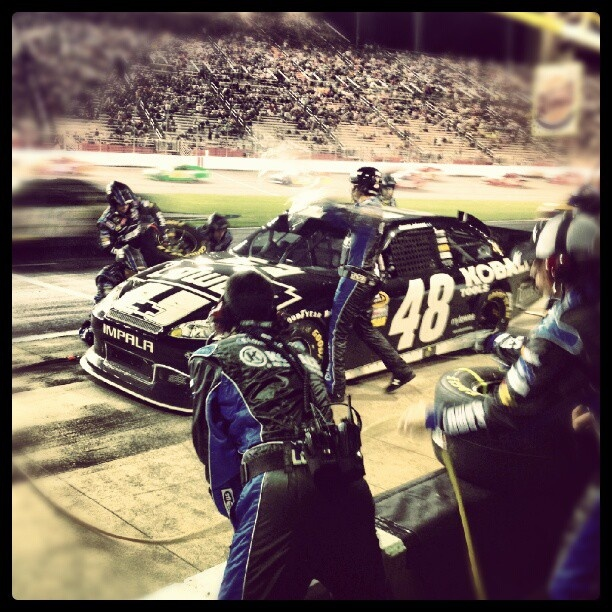 "Photo by @teamhendrick on Instagram: ""@JimmieJohnson comes in for a quick pit stop during the #NASCAR race @amsupdates."""