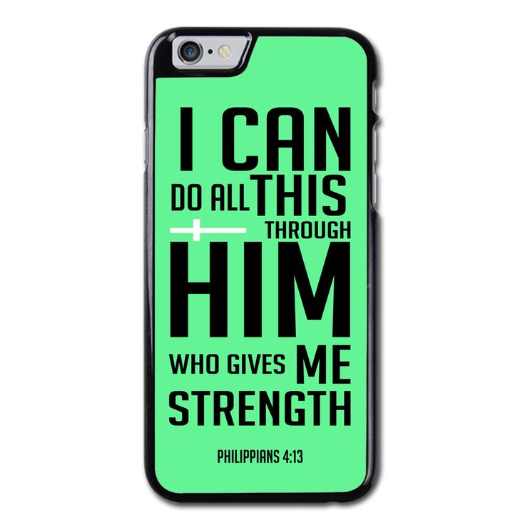 Philippians 4 13 NIV Phonecase for iPhone 6/6S Brand new.Lightweight, weigh approximately 15g.Made from hard plastic, also available for rubber materials.The case only covers the back and corners of your phone.This case is a one-piece case that covers the back and sides of the phone. There is no front for the case.This is a non-peeling nor a non-fading print. Meaning, over time it will continue to look just as amazing as it did when you first received it.