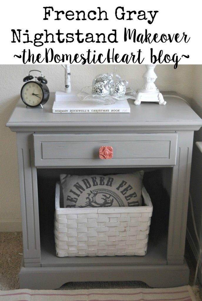 From shab to fab!  See how I turned these shabby yard sale nightstands into gorgeous french gray pieces with open storage - at TheDomesticHeart.com