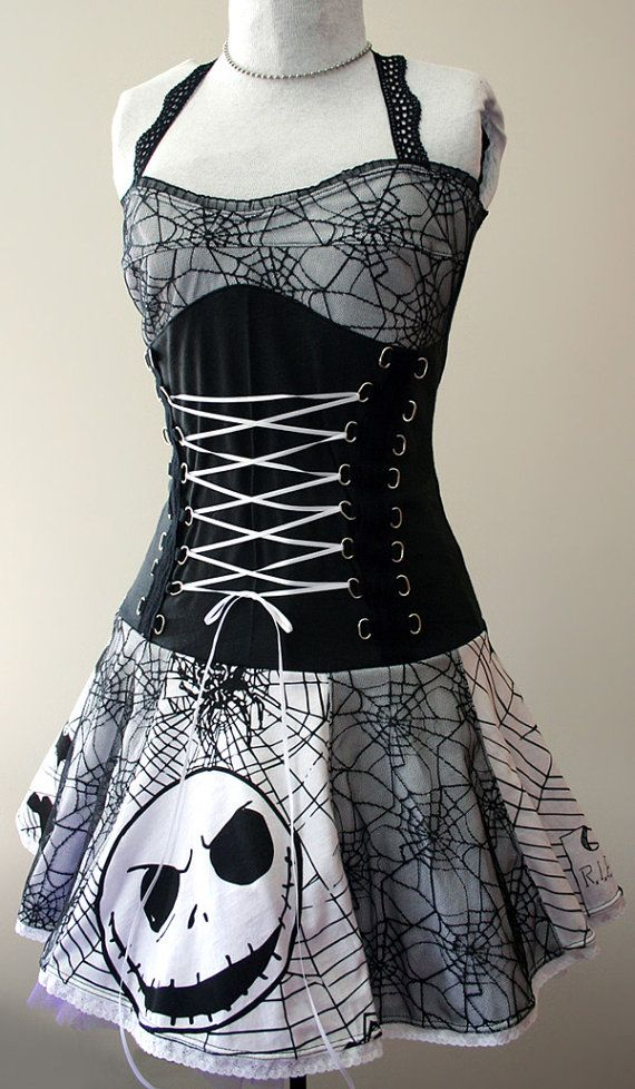Nightmare Before Christmas spiderweb corset dress - handmade custom size - smarmyclothes. $246.00, via Etsy.