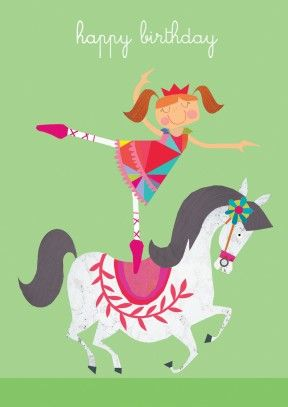 A lovely bit of balancing dressage. This happy birthday card is perfect for any little girl that likes horses and ballet. A great Happy birthday card for your niece, granddaughter or daughter. Especially if she wants to join the circus.