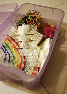 *kids sewing box - embroider on dollar store shelf liner