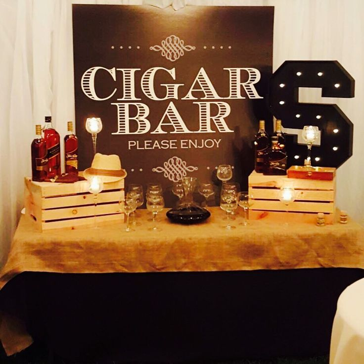 Custom party and corporate event cutouts. Vintage cigar bar backdrop printed on bflute kemi,