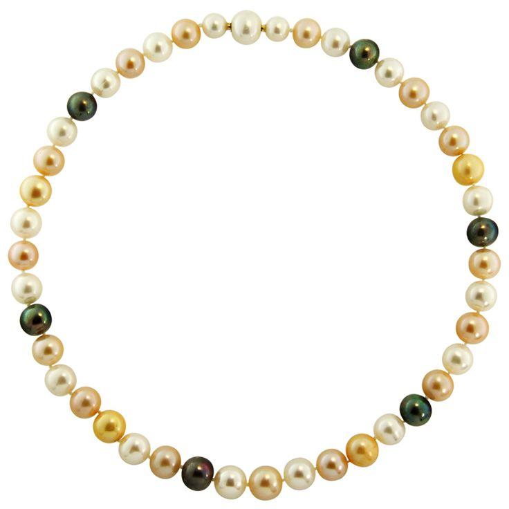 Κολιέ με πολύχρωμα μαργαριτάρια και χρυσά στοιχεία K18 - M122008