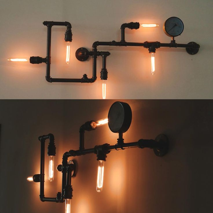 Vägglampa 110x40 cm inklusive koltrådslampor