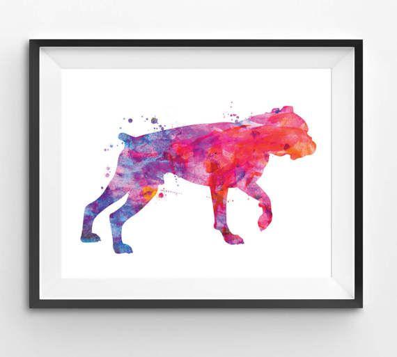 Colorful American Bulldog Watercolor Print Dog Print Dog
