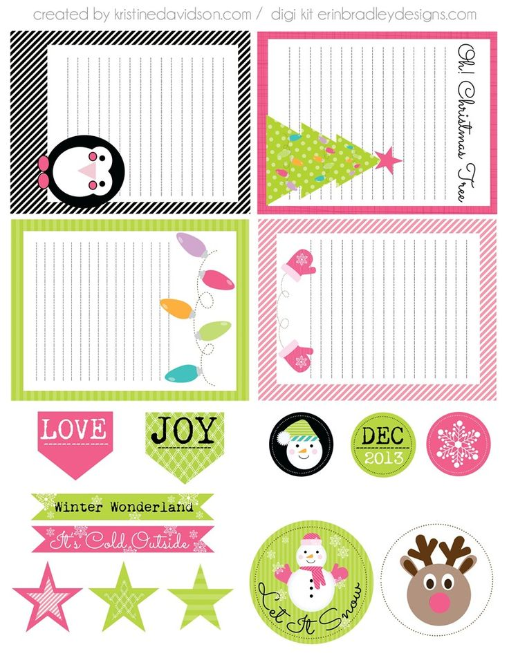 Free Let It Snow Journal Cards and Labels from Kristine Davidson