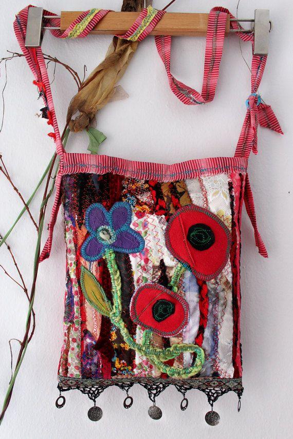 Red Hippie Bag Handmade rag bag Red Boho Bag Ethnic bag