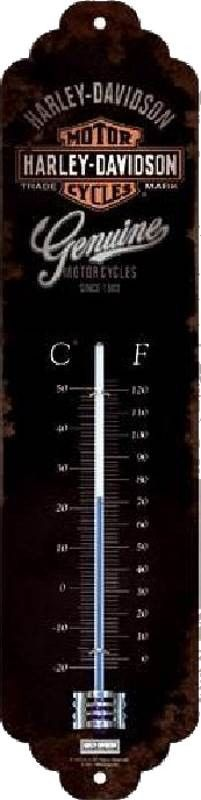 Thermomètre Harley Davidson - Genuine : Thermomètredécoratif rétro en métal représentant Harley Davidson. Idéal pour créer une décoration vintage mécanique dans un garage, un atelier de réparation ou mêmeun diner américain.