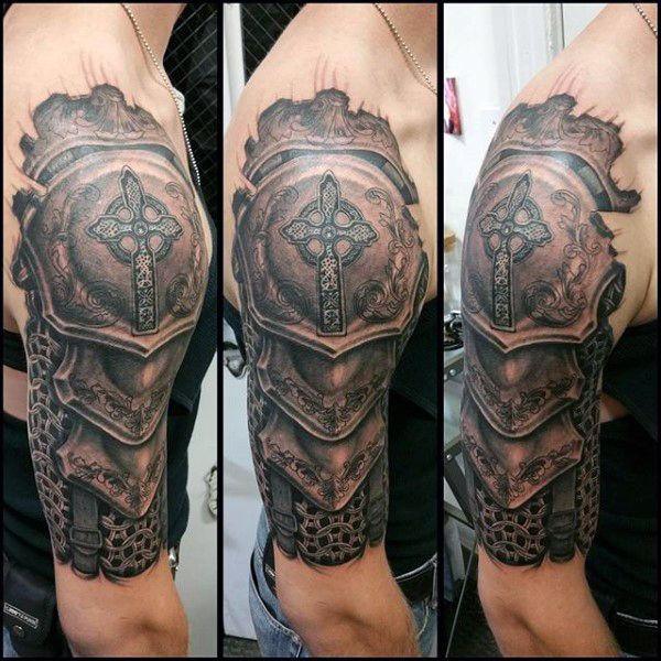 Half Sleeve Armor Tattoo Body Art Designs For Men