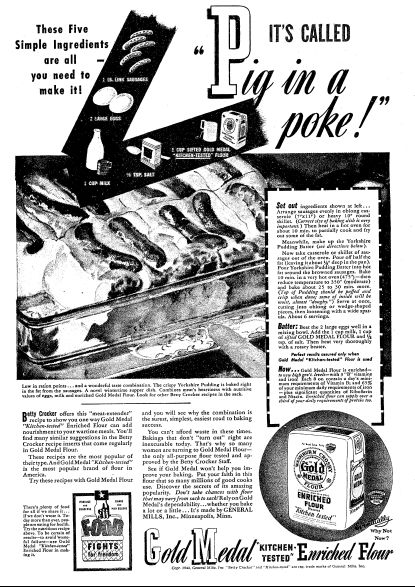 """Ad for Gold Medal Flour, published in the Oregonian newspaper (Portland, Oregon), 30 January 1944. Read more on the GenealogyBank blog: """"Betty Crocker: America's Favorite Fictional Cook."""" http://blog.genealogybank.com/betty-crocker-americas-favorite-fictional-cook.html"""