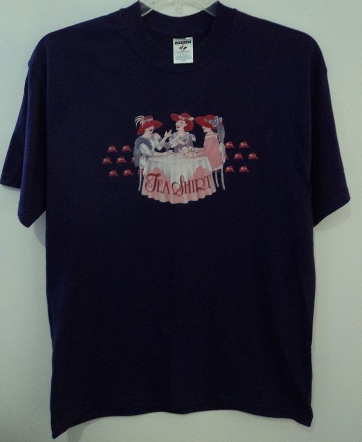 Purple Red Hats Society Tea Shirt T-shirt Size Large #JERZEES #EmbellishedTee