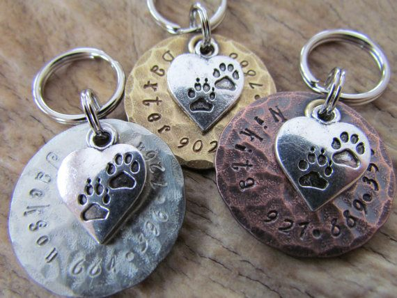 Pet Tags - Pet ID Tag - Dog Collar Tag with Heart and Paw Print Charm, Personalized