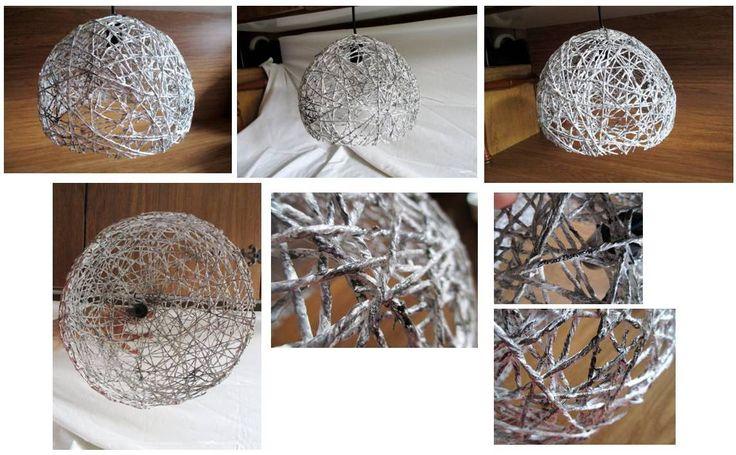 Lampadario: filo di carta, color bianco con sfumature grigio acciaio, nero e argento. Per lampadina led E14/E27. Materiale: carta di riciclo. Misura: circa 25cm diam x 20cm altezza