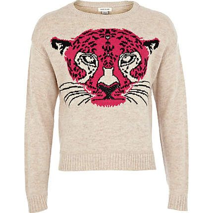 Girls pink tiger head jumper  £10.00