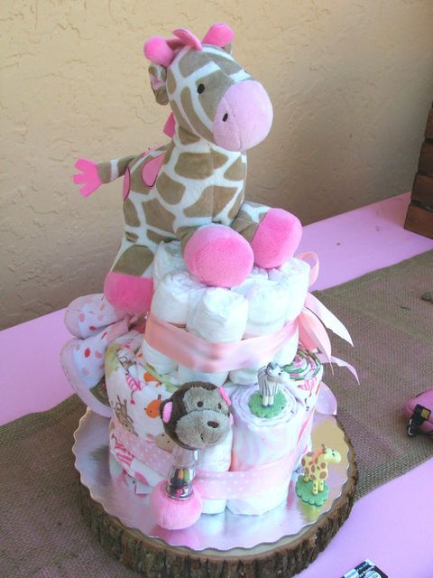 Cute diaper cake at a Jungle Jill Baby Shower! See more party ideas at CatchMyParty.com!