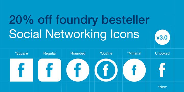 Social Networking Icons (20% discount, from $20.80) - http://fontsdiscounts.com/social-networking-icons-20-discount-20-80/