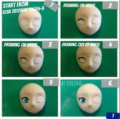 Fondant Face Tutorial - Disney Frozen Queen Elsa part 3 of 4..good guideline to create many character faces Más