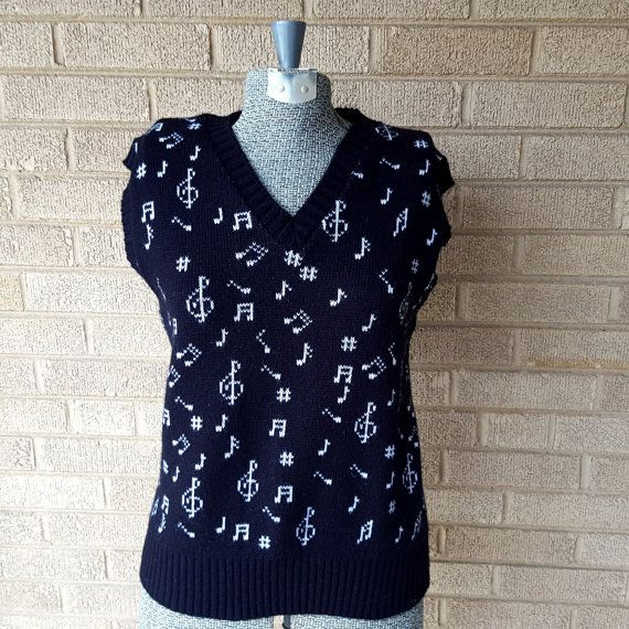 Musical Treasures 1989 Late 80s Vintage Music Note Knit