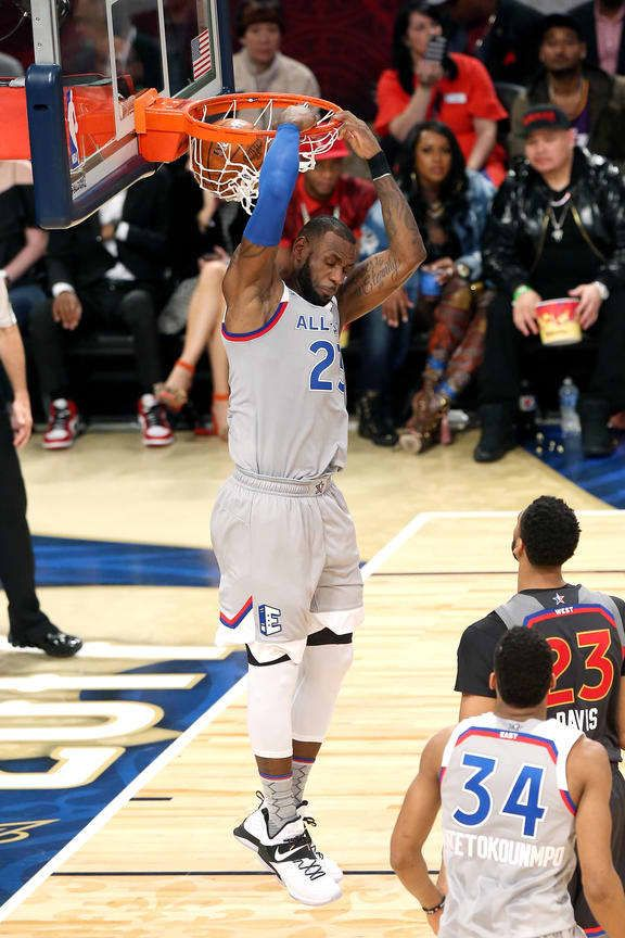 LeBron James #23 of the Eastern Conference All-Star Team dunks the ball during the NBA All-Star Game as part of the 2017 NBA All Star Weekend on February 19, 2017 at the Smoothie King Center in New Orleans, Louisiana.