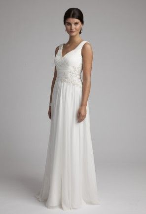 Emanate bridal goddess status in this everlastingly divine crinkle chiffon wedding gown beauty. Perusing this dress from head to toe, you'll notice that every design feature was artfully crafted to style perfection. Features that make this beauty extra special include a ruched, wide v-neck bodice that comes adorned with a flower side detailing comprised of breathtaking pearls and beads. This Grecian style stunner will certainly command the attention of the crowd at your wedding reception…