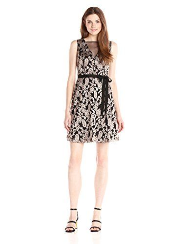 Jessica Simpson Womens Metallic Embellished Party Dress with Illusion VNeck BlackGold 6 * Details can be found by clicking on the image.
