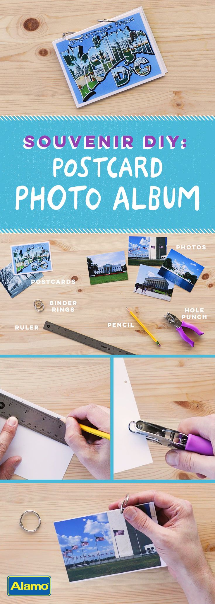 Who doesn't love flipping through a photo album filled with vacation memories? Here's an easy, inexpensive, DIY alternative to store-bought photo albums. See how anyone can make a vacation keepsake using printed photos, a hole punch, binder rings and a couple of postcards!