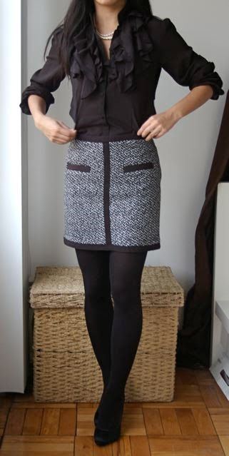 Black and White tweed skirt with ruffled top.>>> I'm not sure I like that particular skirt but the whole style is really cute.