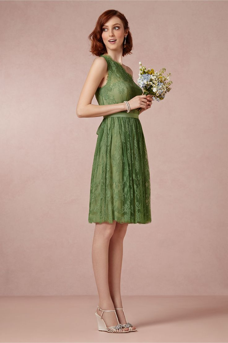 Olive green lace one shoulder - bridesmaid dress