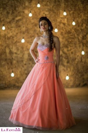 Miss India 2015 Aditi Arya in Half-Sleeves Sweetheart Cherry Party Gown by La Fantaisie