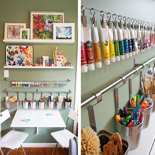 Using an IKEA DIGNITET curtain wire is a quick and easy way to store art supplies so they are close at hand and visible at all times. The IKEA Home Tour Squad used it in their craft room makeover to store watercolor paints!