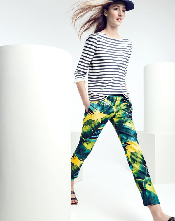 MAY '15 Style Guide: J.Crew women's striped boatneck tee and Collection jungle pull-on pant.