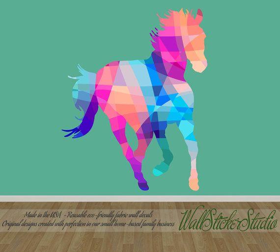 Horse Wall Decal Pattern Geometric Horse by WallStickerStudio