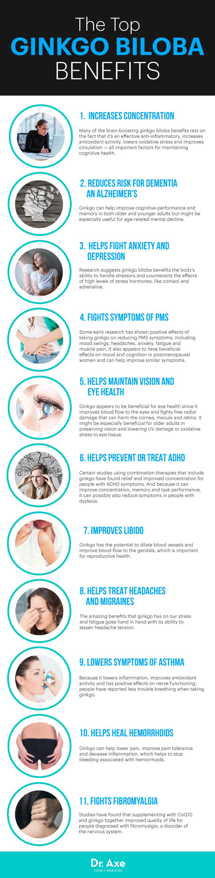 Ginkgo benefits infographic - Dr. Axe http://www.draxe.com #health #holistic #natural